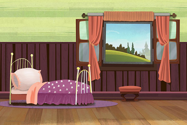 illustrator drawing and color background design for animation series
