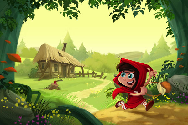 Red ridding hood illustrations, character design and color backgrounds for childrens books